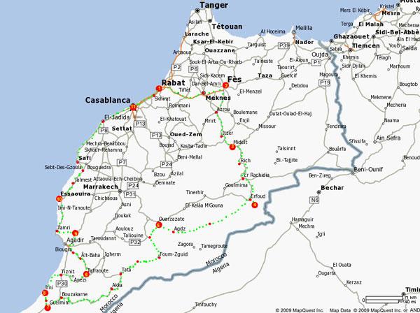 voyage découverte du maroc - boucle 12 jours - carte du circuit