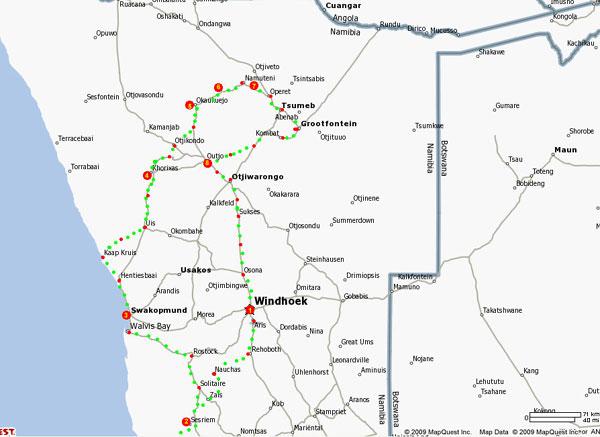 Carte du circuit découverte de la Namibie - 11 jours