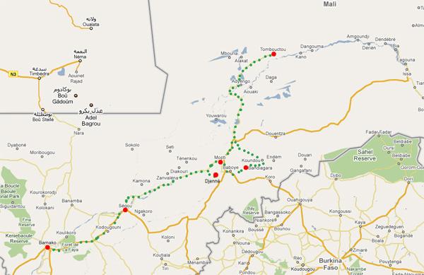 Mali - carte du circuit