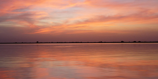Mali - coucher de soleil sur le Niger à Mopti