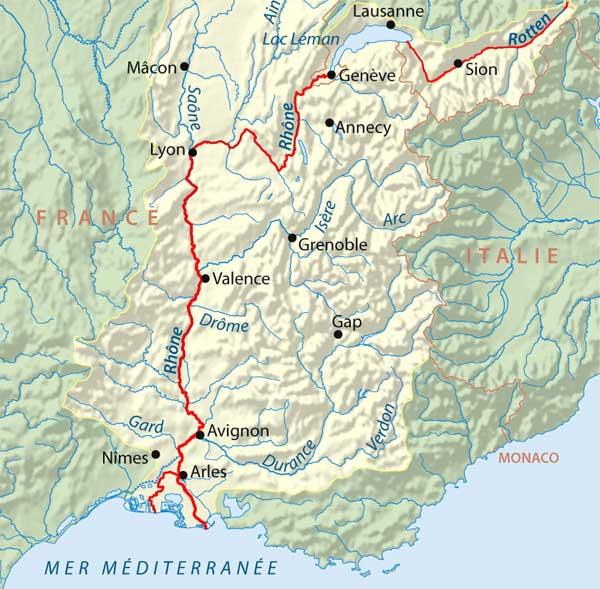 Le Rhône - parcours en Suisse et en France