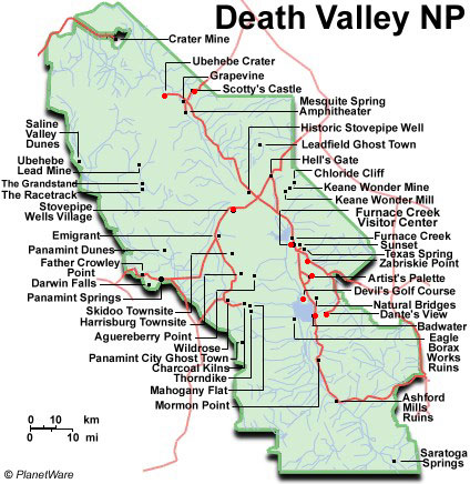 usa - carte de la vallée de la mort (death valley) en californie