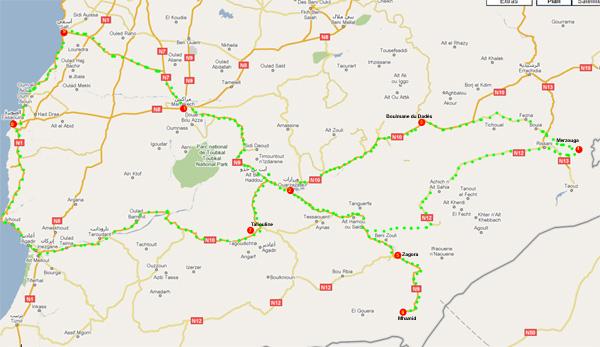 maroc - carte du circuit aux portes du déserts