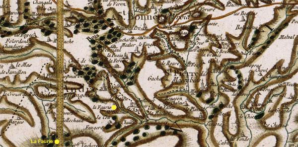 Le hameau La Faurie sur la carte de Cassini