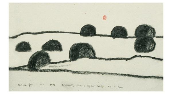 Christine Crozat, « Tas de foin » - 1995 dessin au graphite, 22,5 × 14 cm