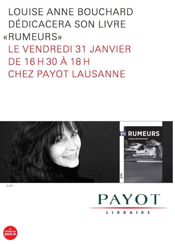 Louise-Anne Bouchard dédicace son livre Rumeurs chez Payot à Lausanne
