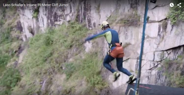 Laso Schaller: cliff jump de 59 mètres de hauteur