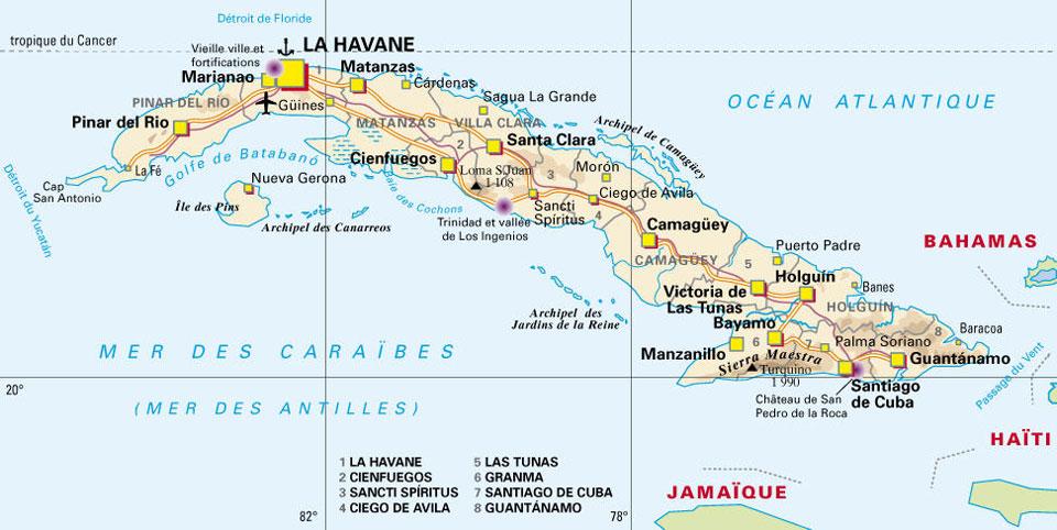Conseils pour un voyage à Cuba - La carte de Cuba