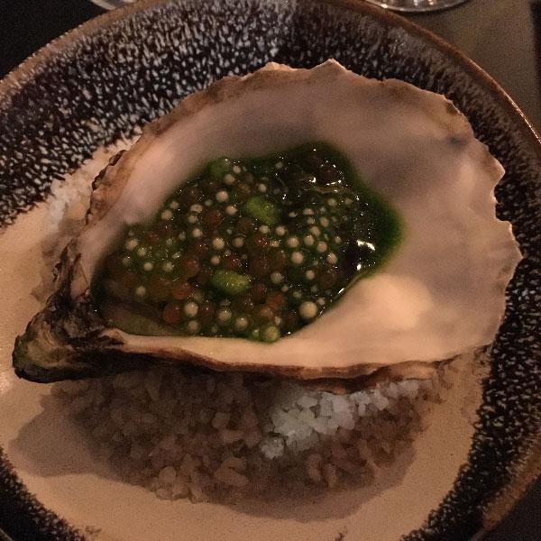 Javade - restaurant LA BIJOUTERIE Lyon - huitre, cresson et purée de macadémia