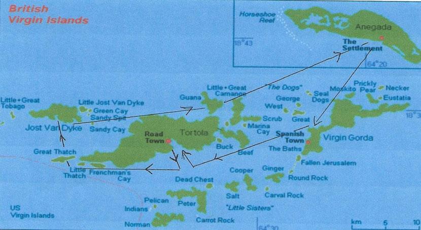 Les croisières de Jean - Les Iles Vierges Britanniques : Circuit maritime
